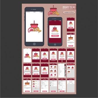 Handy-App-Design für Kuchen Shop