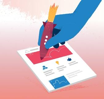 Handzeichnung auf Geschäftsdokument