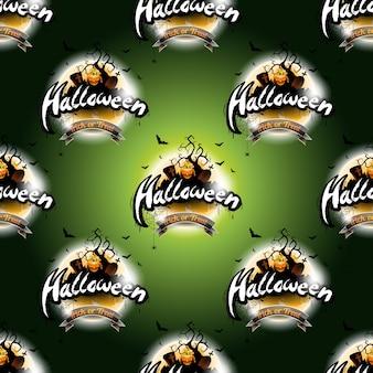 Happy Halloween nahtlose Muster Illustration mit Mond und Kürbis auf dunkelgrünem Hintergrund.