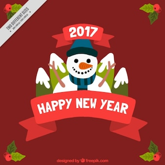 Happy new year Hintergrund mit Schneemann und Berge
