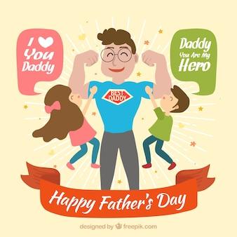 Happy Super Dad Hintergrund mit seinen Kindern