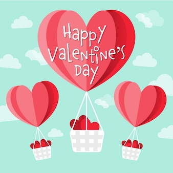 Happy Valentines Tag Vektor Herz Heißluftballons in den Himmel geformt