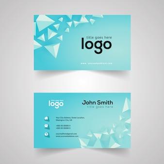 Hellblaue Visitenkarte mit geometrischem Design