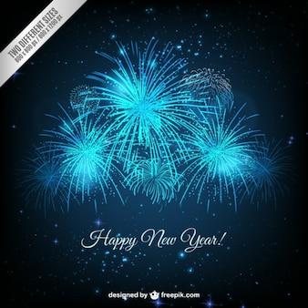 Helle blaue neue Jahr Feuerwerk Hintergrund