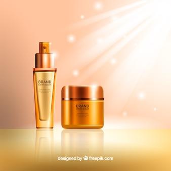 Heller Hintergrund der goldenen kosmetischen Produkte