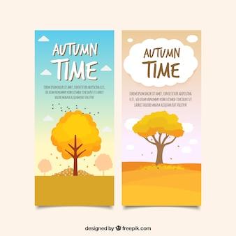 Herbst Banner mit flachen Bäumen