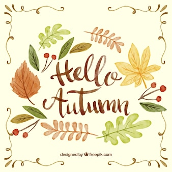 Herbst Hintergrund mit Aquarell Buchstaben