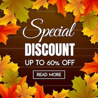 Herbst Verkauf Vorlage Banner Vektor Hintergrund