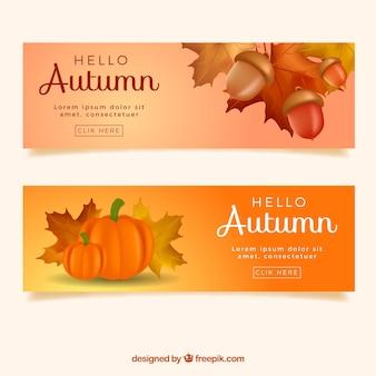 Herbstbanner mit realistischen Eicheln und Kürbissen