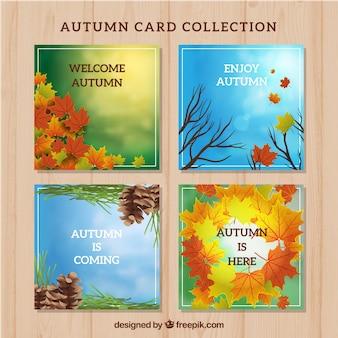 Herbstkarten mit flachem Design
