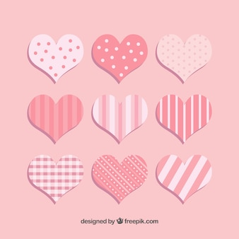 Herzen mit Streifen und Punkten Sammlung