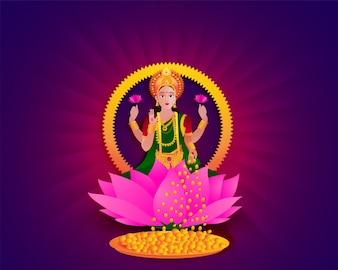Hindu-Göttin Lakshmi auf Lotusblüte