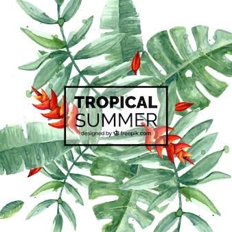 Hintergrund der Aquarell Palmblätter