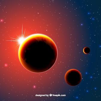 Hintergrund der beleuchteten Planeten