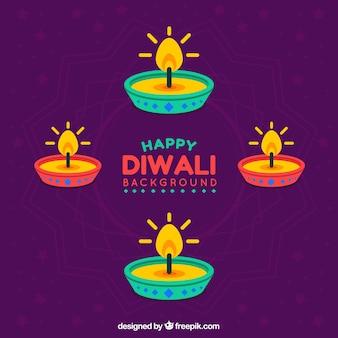 Hintergrund der bunten Kerzen von diwali
