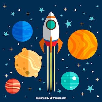 Hintergrund der bunten Planeten und Rakete in flachem Design
