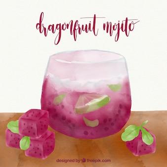 Hintergrund der Drachenfrucht Mojito im Aquarellstil
