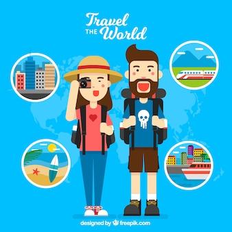 Hintergrund der glücklichen Reisenden auf der ganzen Welt