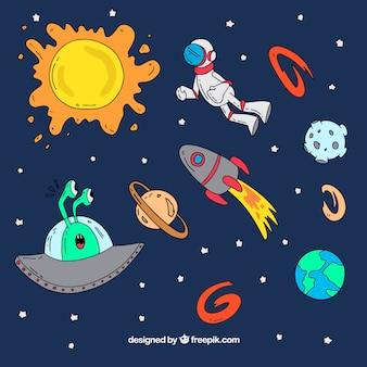 Hintergrund der handgezeichneten Raumelemente und Astronauten