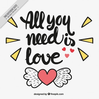 Hintergrund der Herz mit Flügeln und liebevollen Satz