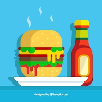 Hintergrund der leckeren Burger mit Ketchup-Flasche