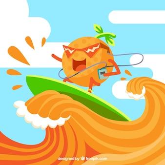 Hintergrund der lustigen orange Surfen