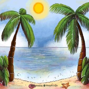 Hintergrund der paradiesischen Landschaft mit Palmen
