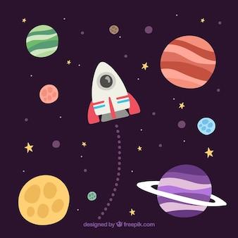 Hintergrund der Planeten und Rakete