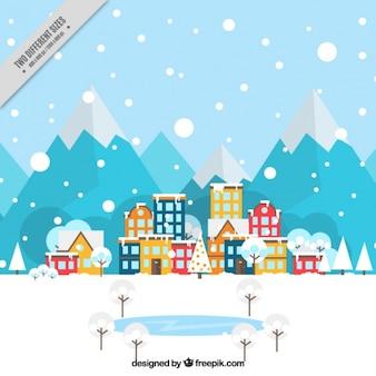 Hintergrund der schneebedeckten Landschaft mit coloredl Häuser in flaches Design