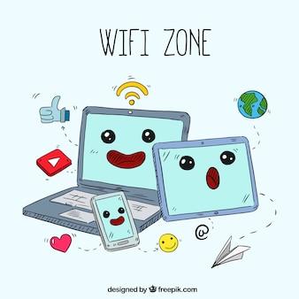 Hintergrund der schönen Hand gezeichneten Gadgets mit WiFi