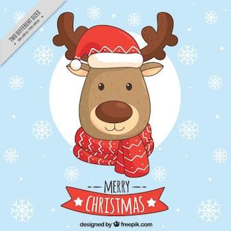 Hintergrund der schönen Rentiere mit Weihnachtsmütze und Schal