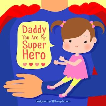 Hintergrund der super Papa mit seiner kleinen Tochter