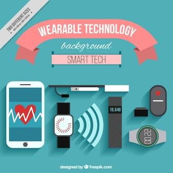 Hintergrund der technologischen Objekte in flaches Design