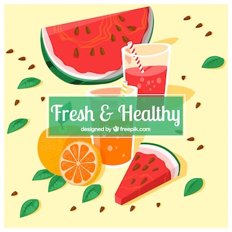 Hintergrund der Wassermelone und Orangensaft