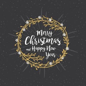 Hintergrund der Weihnachtskranz mit Schneeflocken