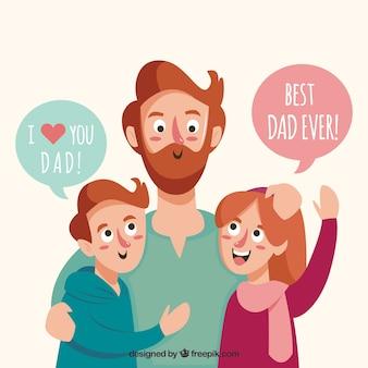 Hintergrund des glücklichen Vaters mit seinen Kindern