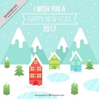 Hintergrund des neuen Jahres von verschneiten Dorf