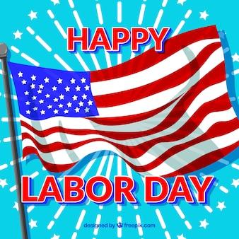 Hintergrund mit amerikanischen Flagge der glücklichen Arbeitstag
