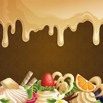 Hintergrund mit Desserts