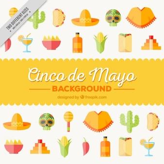 Hintergrund mit flachen mexikanischen Symbole