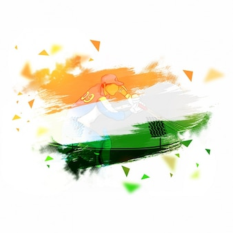 Hintergrund mit Flagge von Indien und Batsman