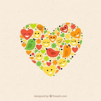 Hintergrund mit glücklichen Zeichen, die ein Herz bilden