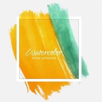 Hintergrund-Textur, gelb und grün Aquarell mit einem Rahmen