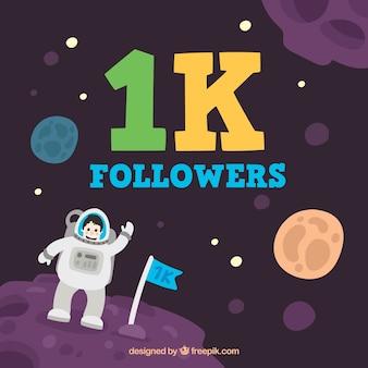 Hintergrund von 1000 Anhänger mit Astronauten im Raum