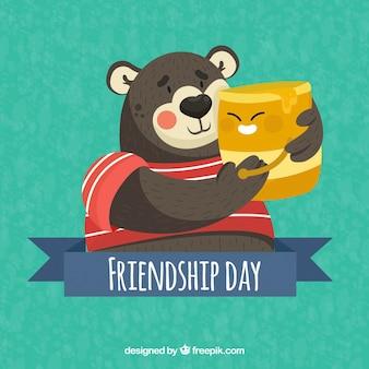 Hintergrund von Bär und Honig für den Freundschaftstag