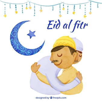 Hintergrund von eid al fitr mit einer Umarmung