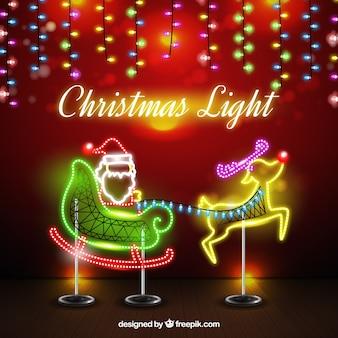 Hintergrund von Neon Santa Claus mit Schlitten