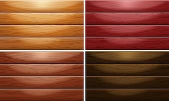 Hintergrundvorlage mit Holzwand in vier Farben