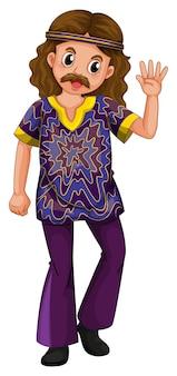 Hippie Mann in lila Kostüm