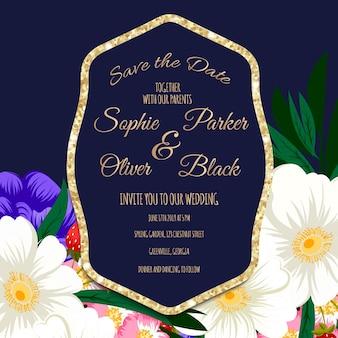 Hochzeit Einladungskarte Suite mit Blumen Vorlagen.Vector Illustration